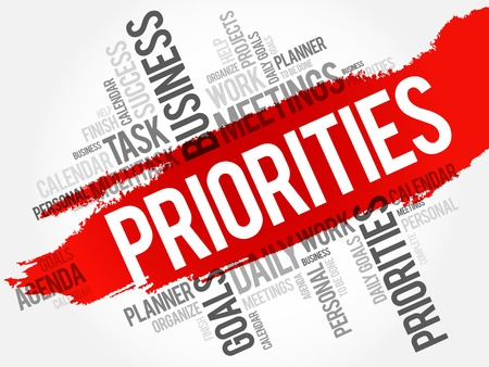 priorities: PRIORITIES word cloud, business concept background Illustration