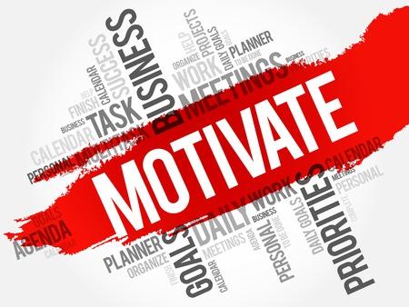 motivate: Motivate word cloud, business concept Illustration