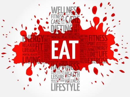 vitamine: EAT word cloud, health cross concept