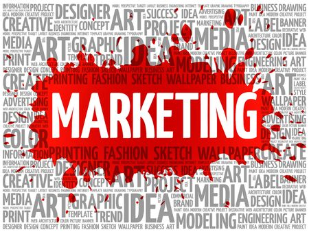 marketing concept: MARKETING word cloud, creative business concept background