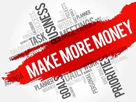 Ganar más dinero de la palabra nube concepto de negocio