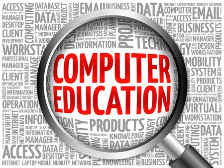 computer education: Computer Education word cloud with magnifying glass, business concept 3D illustration