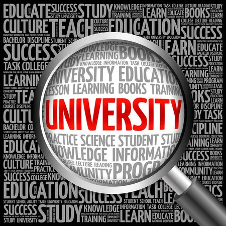 university word: UNIVERSITY word cloud with magnifying glass, concept 3D Stock Photo