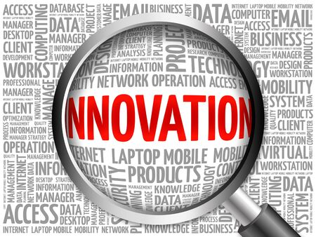 innovator: INNOVATION word cloud with magnifying glass, business concept 3D illustration