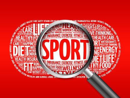 SPORT word cloud with magnifying glass, health concept Stock Photo
