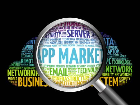 APP Market word cloud with magnifying glass, business concept