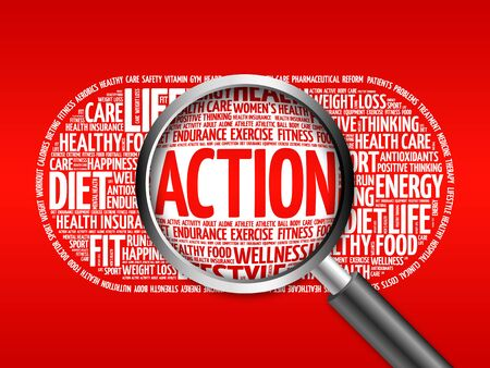 food supply: ACTION word cloud with magnifying glass, health concept