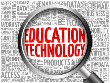 studing: Education Technology word cloud with magnifying glass, business concept 3D illustration