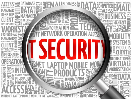 malicious software: IT Security word cloud with magnifying glass, business concept 3D illustration