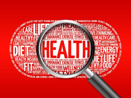 HEALTH word cloud with magnifying glass, health concept