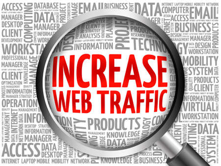 web traffic: Increase web traffic word cloud with magnifying glass, business concept 3D illustration Stock Photo