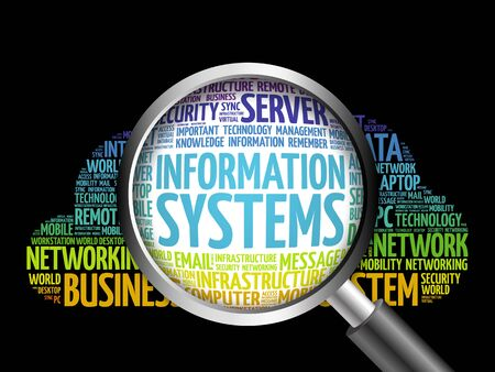 Information Systems word cloud with magnifying glass, business concept