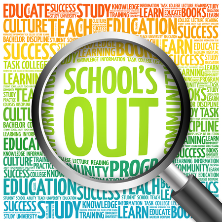 Schools Out word cloud with magnifying glass, concept 3D illustration