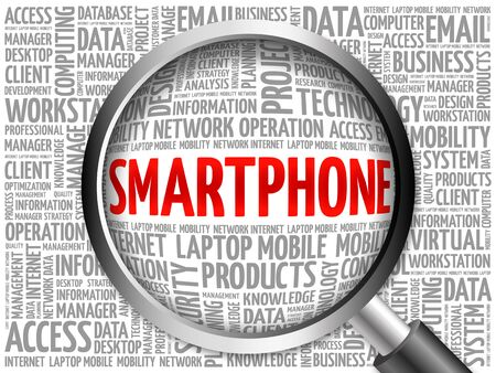smartphone business: Smartphone word cloud with magnifying glass, business concept 3D illustration Stock Photo