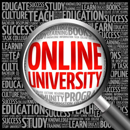 university word: Online University word cloud with magnifying glass, concept 3D illustration