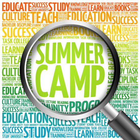 Summer Camp word cloud with magnifying glass, concept 3D illustration