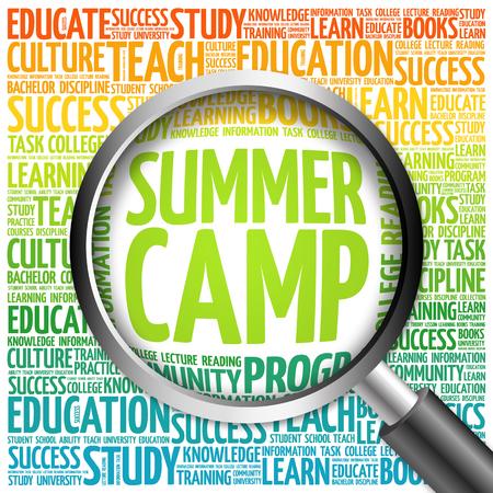 Summer Camp Wortwolke mit Lupe, Konzept 3D-Darstellung Standard-Bild - 60783724
