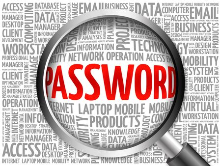 logging: Password word cloud with magnifying glass, business concept 3D illustration Stock Photo