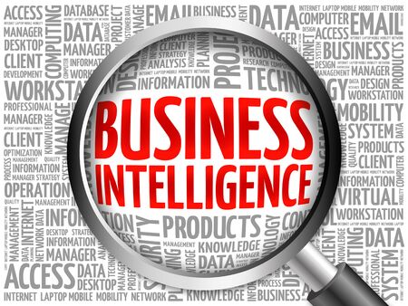 involves: Business intelligence word cloud with magnifying glass, business concept 3D illustration
