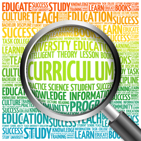 CURRICULUM word cloud with magnifying glass, concept 3D illustration