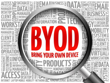 own: BYOD - bring your own device acronym word cloud with magnifying glass, business concept 3D illustration