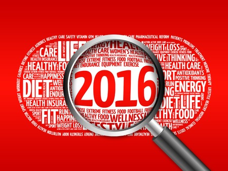 2016 health and sport goals word cloud with magnifying glass, health concept