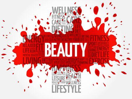 sexual health: BEAUTY word cloud, health cross concept