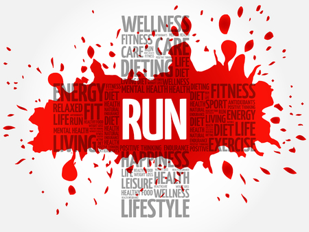 RUN word cloud, health cross concept Illustration