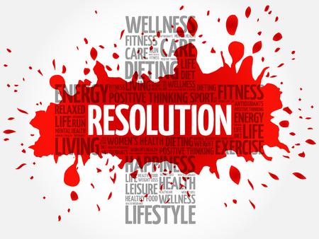 resolution: RESOLUTION word cloud, health cross concept