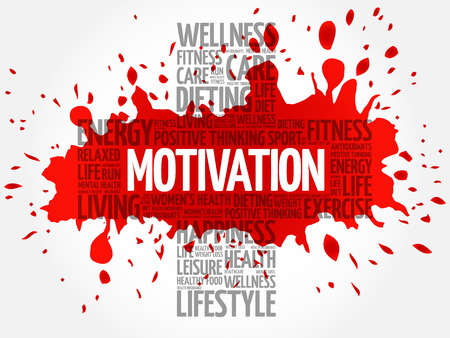 MOTIVATION word cloud, health cross concept Illustration