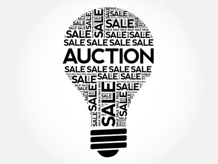 dealing: AUCTION bulb word cloud, business concept background