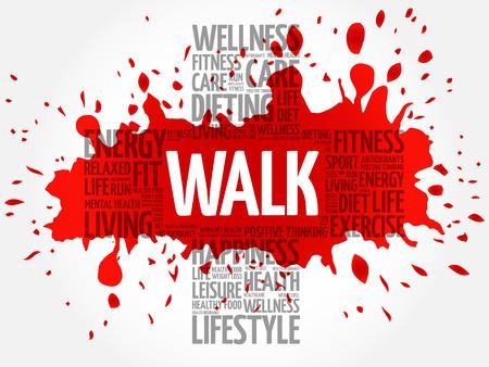 endurance run: WALK word cloud, health cross concept
