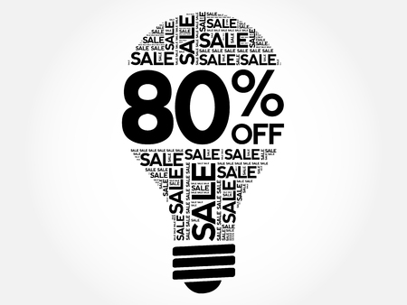 80: 80% OFF SALE bulb word cloud, business concept background