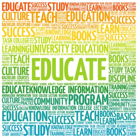 ability to speak: EDUCATE word cloud, education business concept Illustration