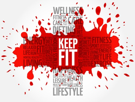 KEEP FIT cross word cloud, health concept