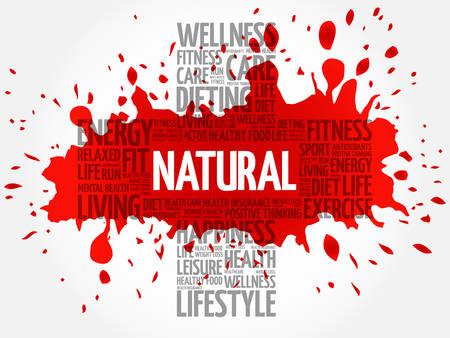 vitamine: NATURAL word cloud, health cross concept