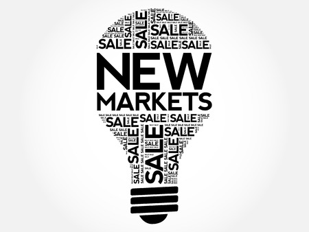 targeted: New Markets bulb word cloud, business concept background Illustration