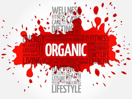increase fruit: ORGANIC word cloud, health cross concept