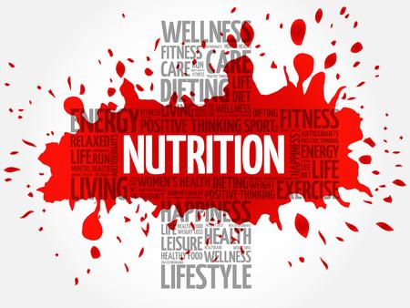 Nutrition word cloud, health cross concept Illustration