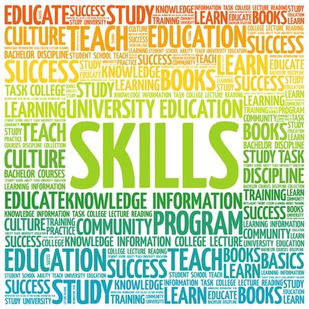education concept: SKILLS word cloud, education concept Illustration