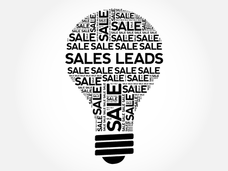 leads: Sales Leads bulb word cloud, business concept background
