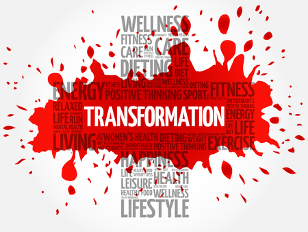 TRANSFORMATION word cloud, health cross concept Illustration