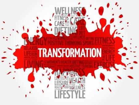 transformation: TRANSFORMATION word cloud, health cross concept Illustration