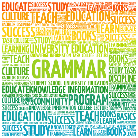 verb: Grammar word cloud, education concept background Illustration