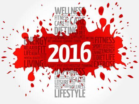 2016 Goals Health word cloud, health cross concept