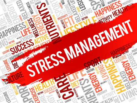 Stress Management word cloud, health concept Illustration