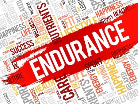 fortitude: ENDURANCE word cloud, fitness, sport, health concept