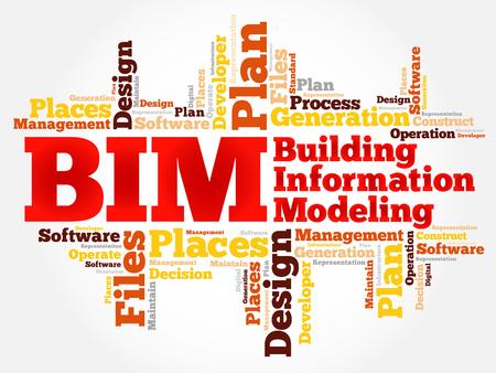 BIM - modélisation des données architecturales nuage de mot, concept d'entreprise Vecteurs