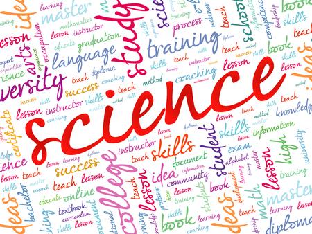 CIENCIA nube de palabras, el concepto de fondo de educación Ilustración de vector
