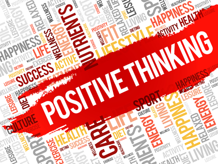 Positive thinking word cloud, health concept Illustration